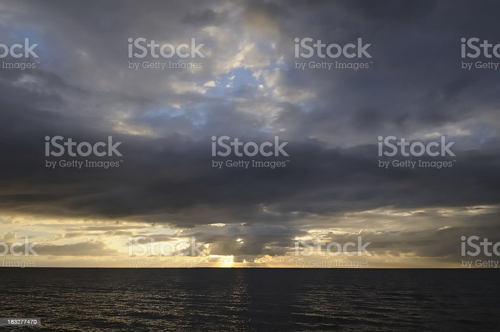 Sunset over the IJsselmeer stock photo