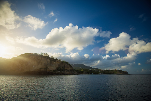 sunset over the island of Montserrat in the caribbean sea