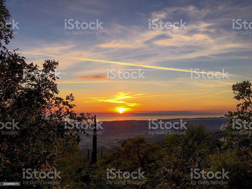 Sunset over the Konavle Basin, Dalmatia, Croatia ストックフォト