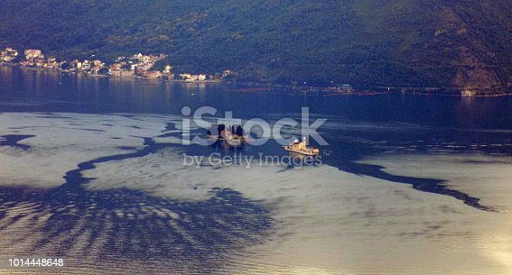 istock Sunset over the Kotor bay, with Our-Lady-of-the-Reef and Saint-George island 1014448648