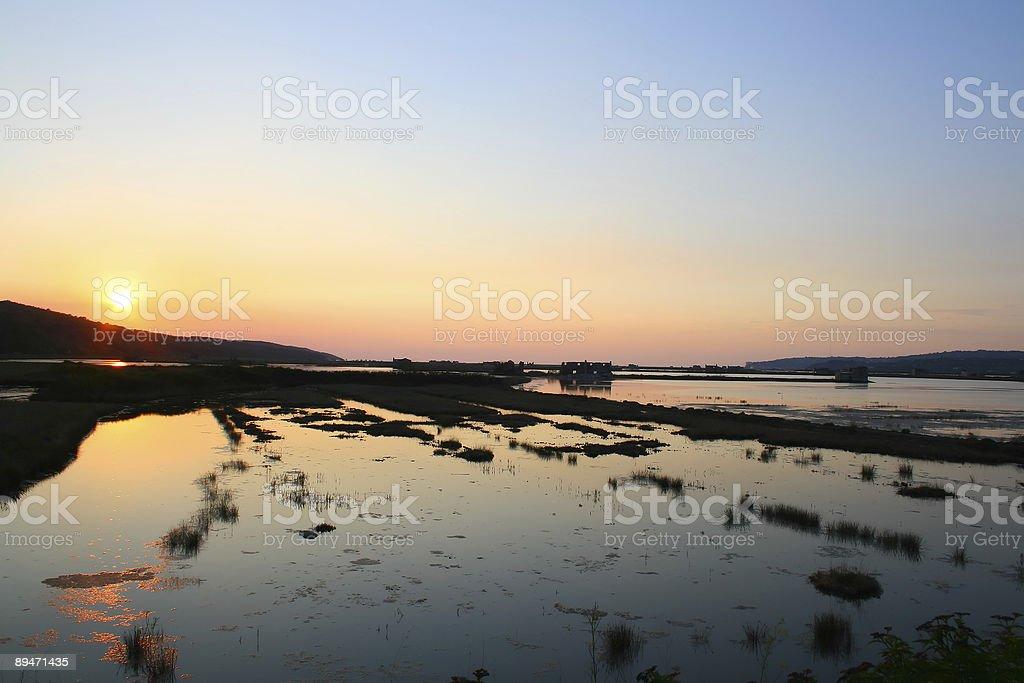 Sunset over the laguna, Sečoveljske soline - Slovenia royalty-free stock photo