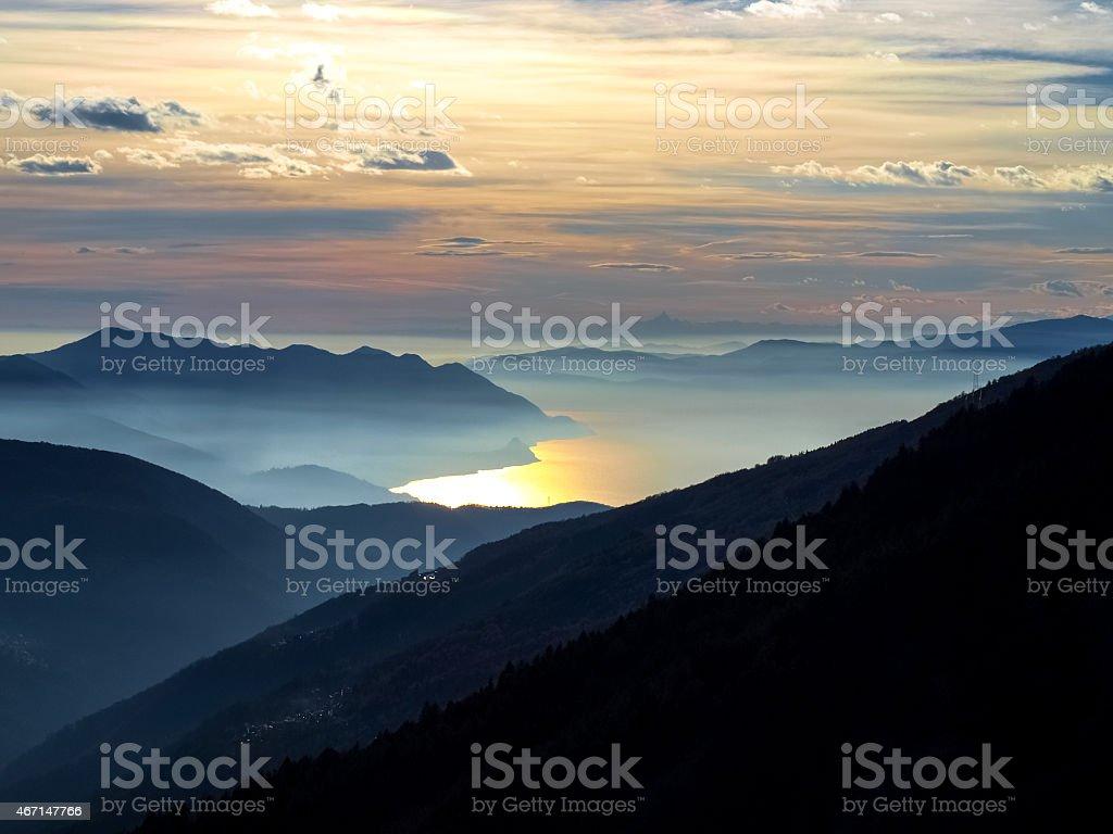 sunset over the lake maggiore stock photo