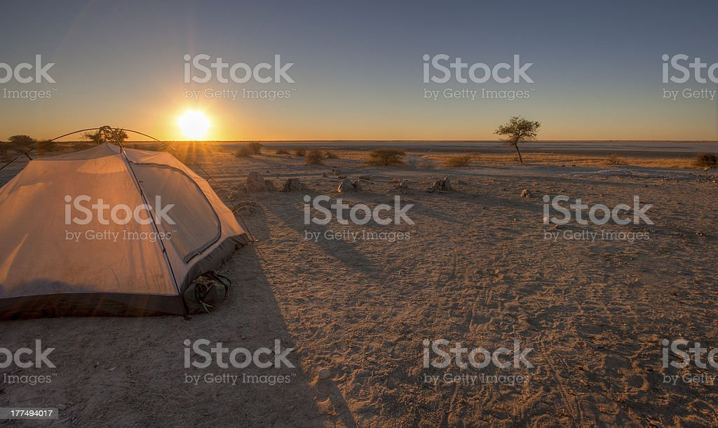 Sunset over the Makgadikgadi Pan stock photo