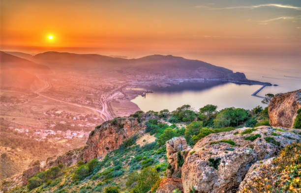sunset over the mediterranean sea in oran, algeria - algeria stock photos and pictures