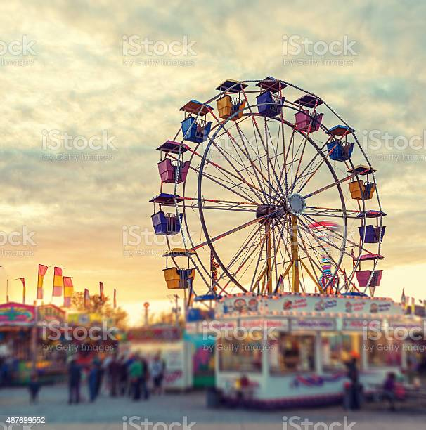 Sunset Over The Midway Stock Photo - Download Image Now