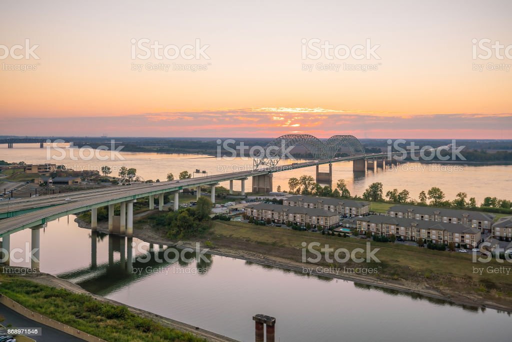 Sunset over the Mississippi River stock photo