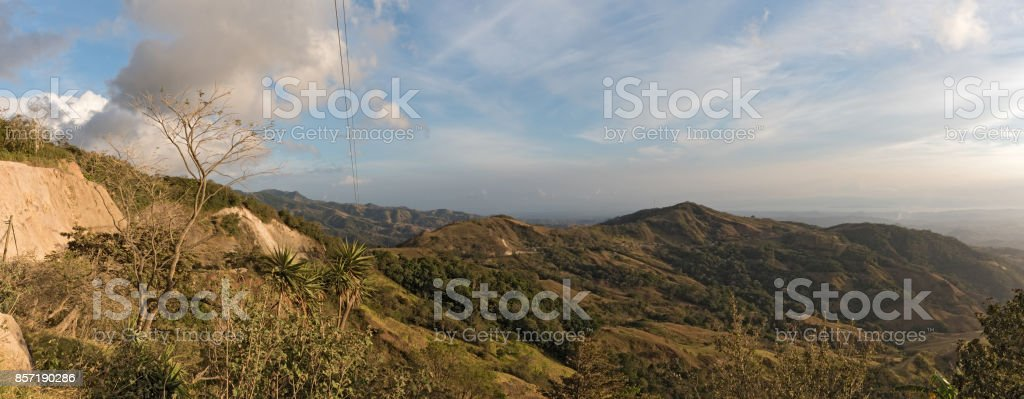 Sunset over the Monteverde Cloud Forest Reserve in Costa Rica stock photo
