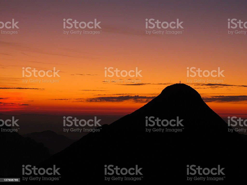 Sunset over the mountains royalty-free stock photo