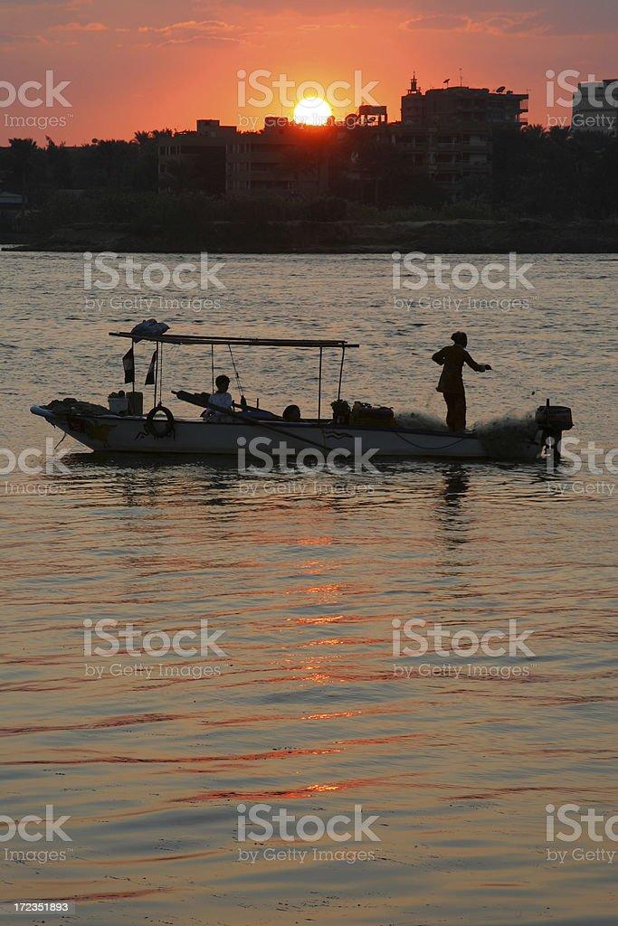 Puesta de sol sobre el Nilo foto de stock libre de derechos