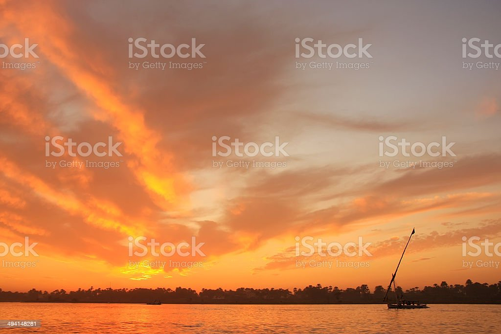 Sunset over the Nile river, Luxor royalty-free stock photo
