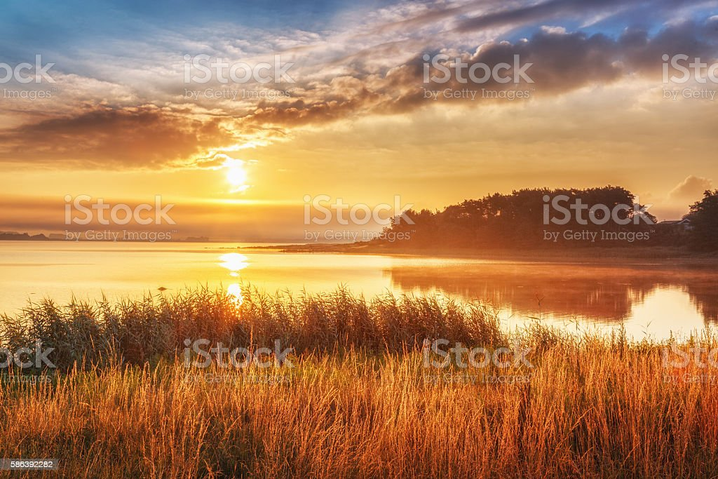 Sunset over the Northern Sea, in Sweden. stock photo