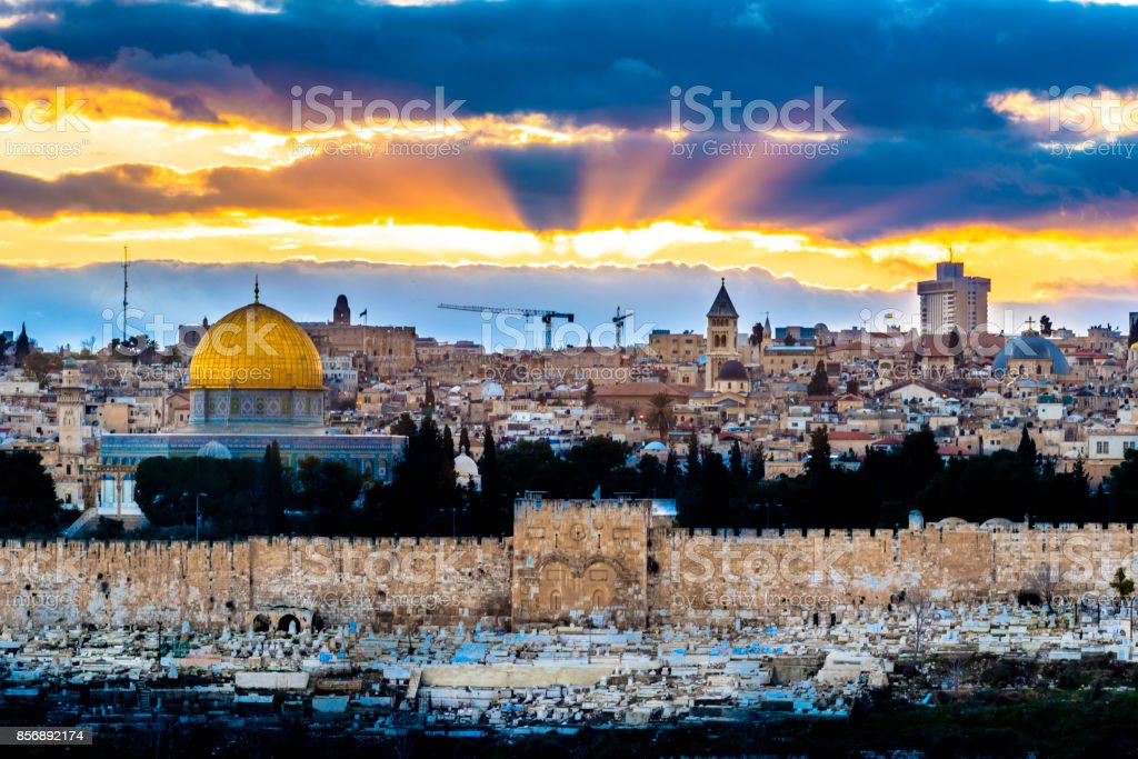 Sunset over the Old City Jerusalem stock photo
