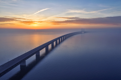 Sunset over the Oresundsbron Oresund Bridge
