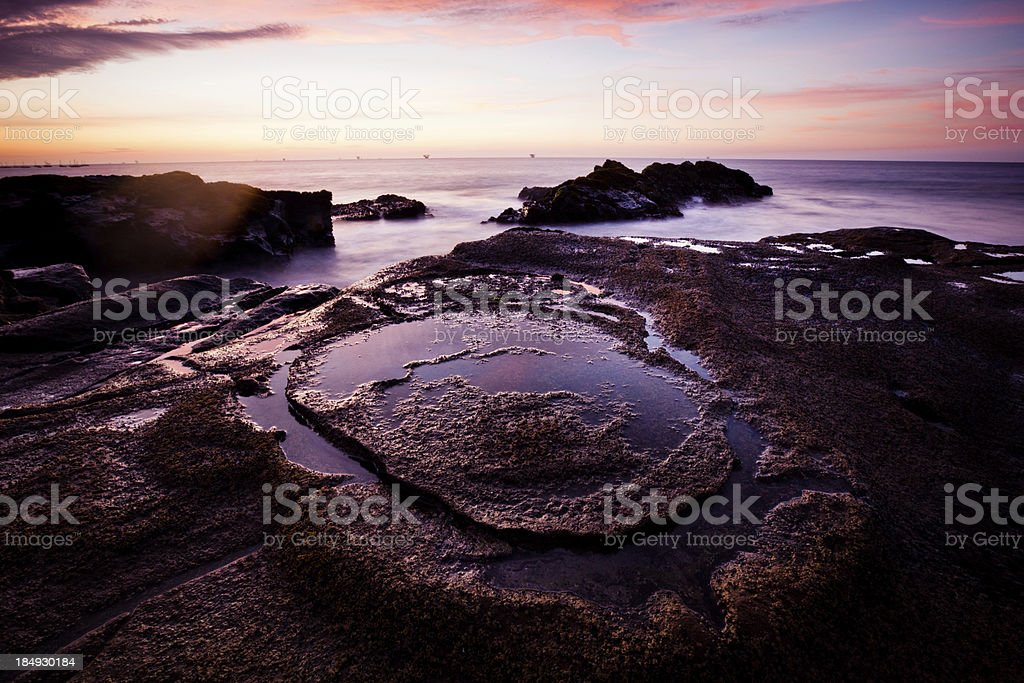 Sunset over the Pacific Ocean in Peru royalty-free stock photo