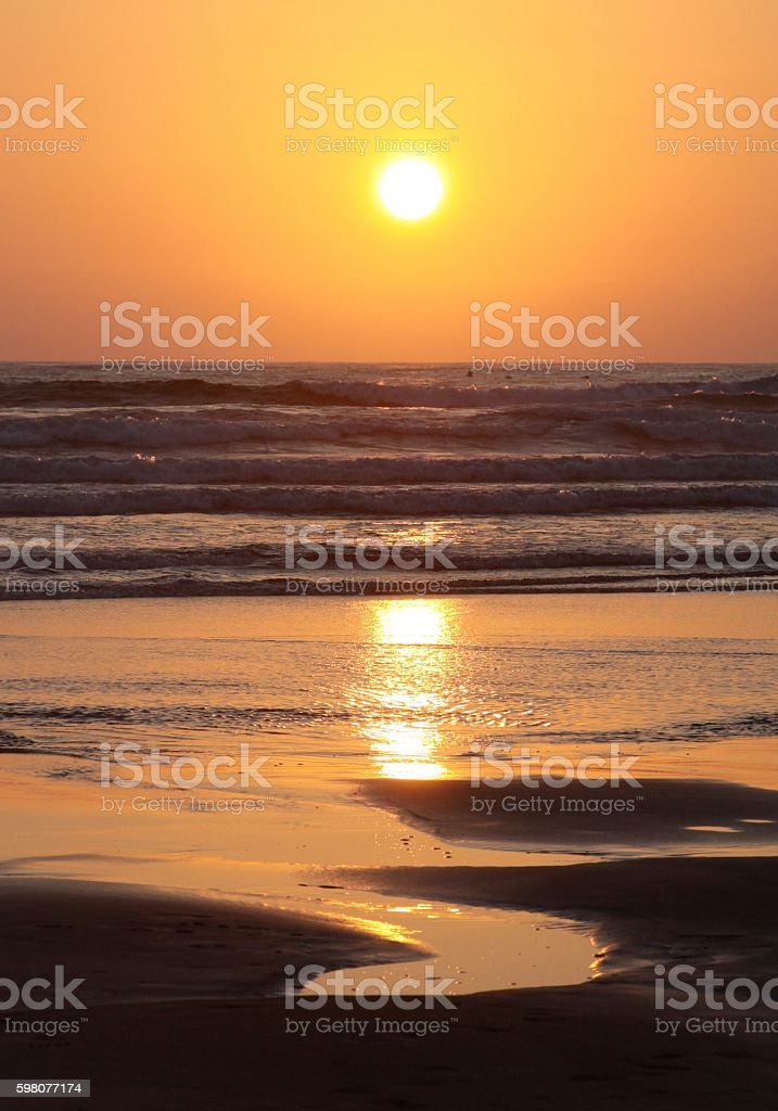 Sunset Over The Pacific Ocean stock photo