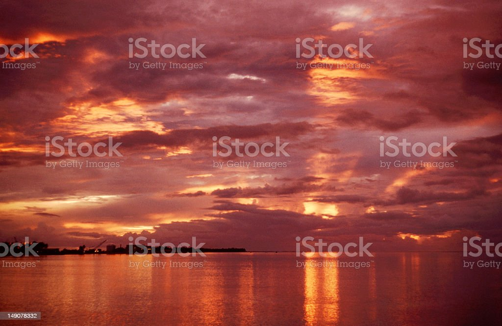 Sunset over the Pacific stock photo