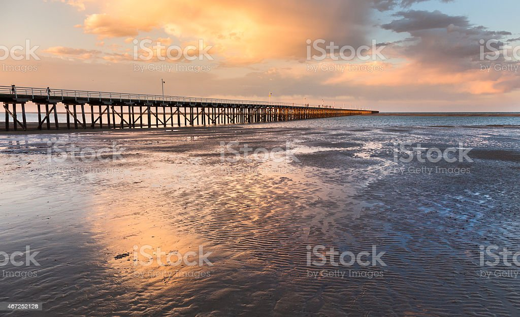 Sunset over the pier at Urangan Pier, Hervey Bay, Queensland stock photo