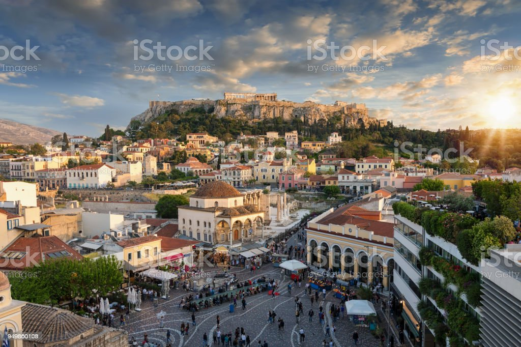Sunset over the Plaka, the old town of Athens, Greece stock photo