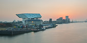Illustration picture showing sunset over the new porthouse (havenhuis), on Wednesday 14 September 2016, Antwerp, Belgium. This new port authorities building is from British-Irakian architect Zaha Hadid