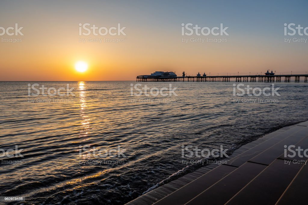 Sunset over the promenade in Blackpool, Lancashire stock photo