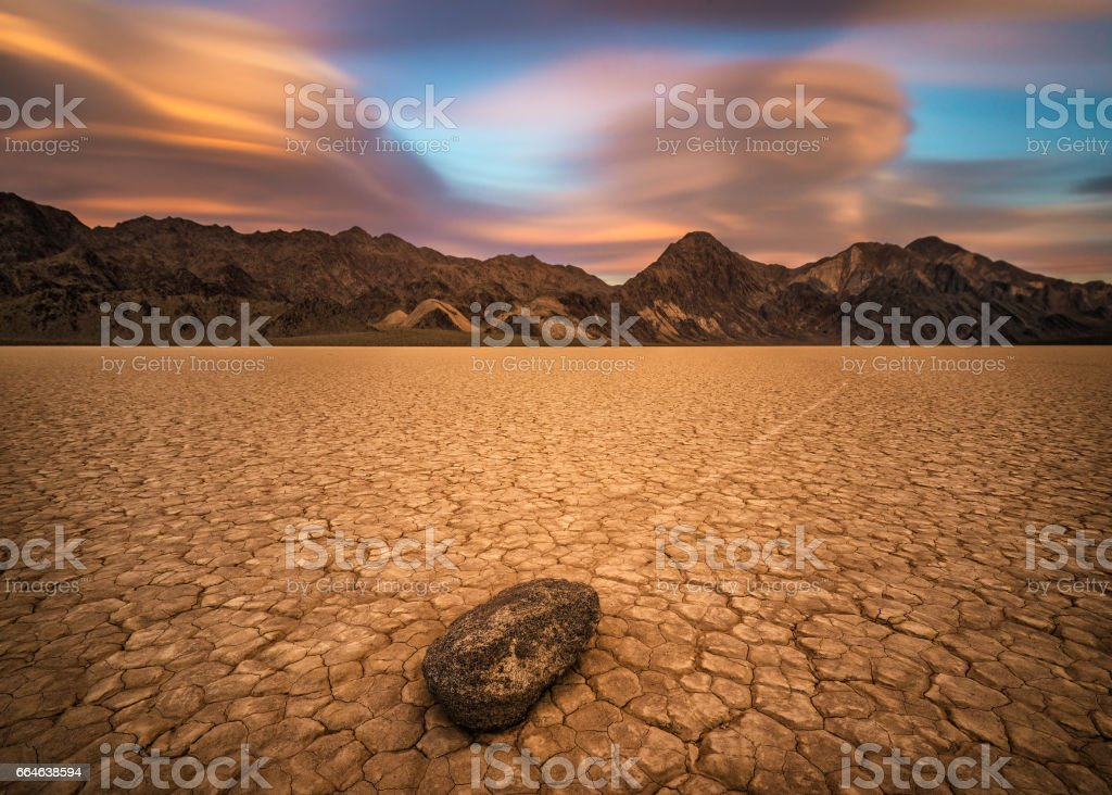 Sunset over The Racetrack Playa  in Death Valley National Park stock photo