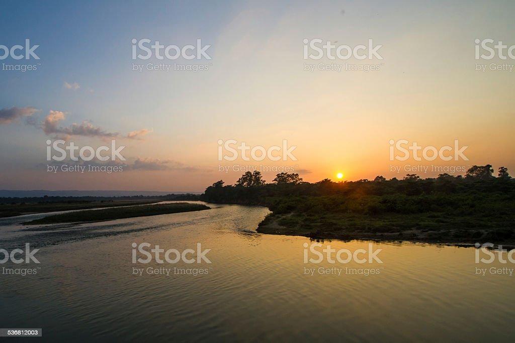 Sunset Over the Rapti River, Nepal stock photo