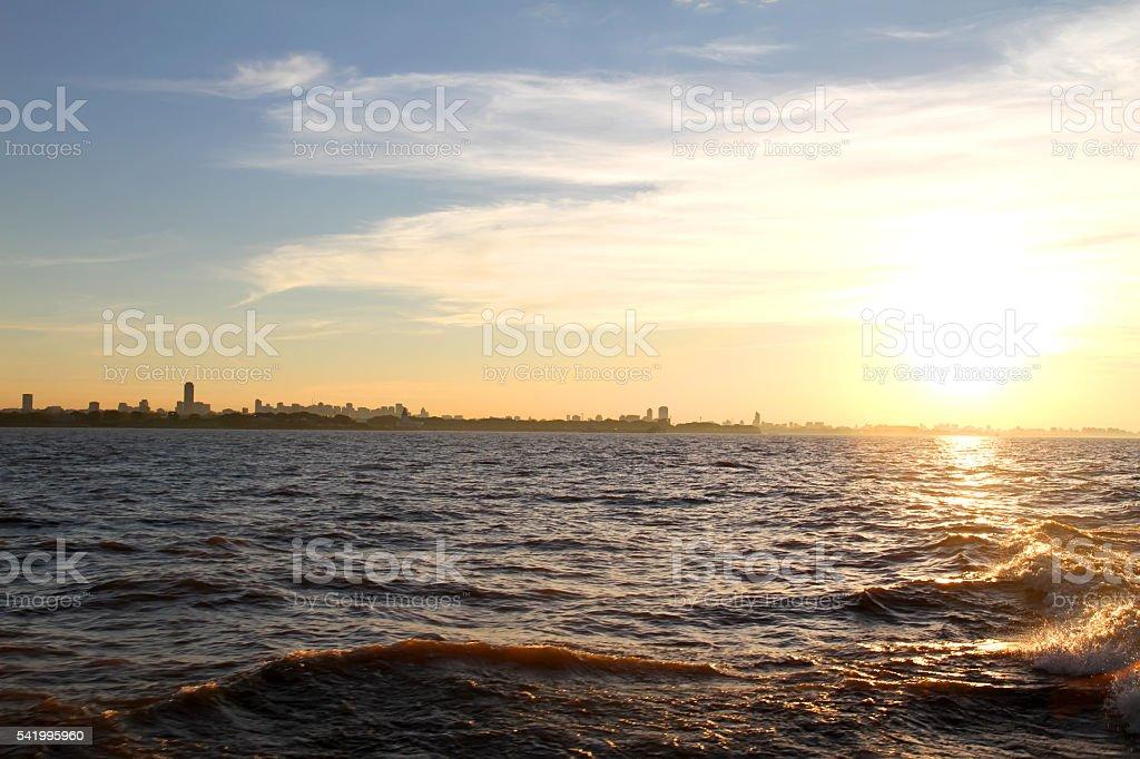 Sunset over the Rio de la Plata stock photo