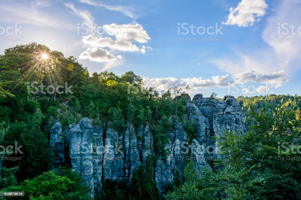 Sunset over the rocks in Germany. Saxon Switzerland national park, Saxony stock photo