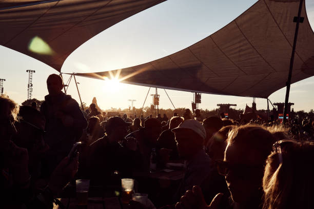 Sunset over the Roskilde Festival stock photo