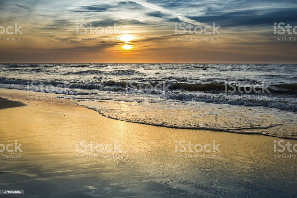 Sunset over the sea in summer stock photo