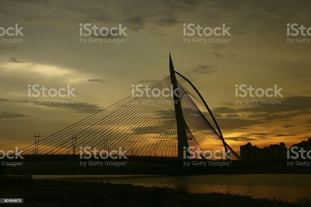 Sunset over the Seri Wawasan royalty-free stock photo