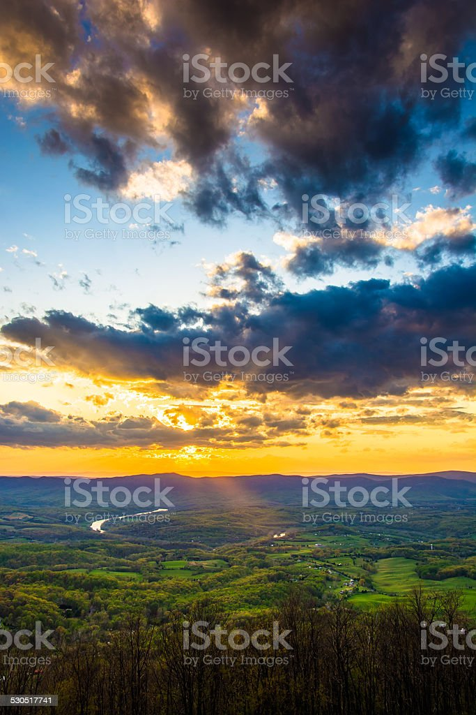 Sunset over the Shenandoah Valley from Skyline Drive in Shenando stock photo