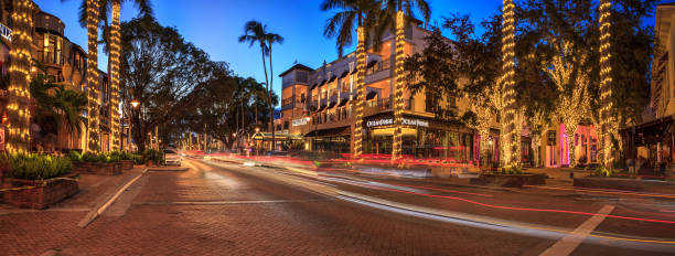 Sunset over the shops along 5th Street in Old Naples, Florida. Naples, Florida, USA- September 16, 2018: Sunset over the shops along 5th Street in Old Naples, Florida. naples florida stock pictures, royalty-free photos & images
