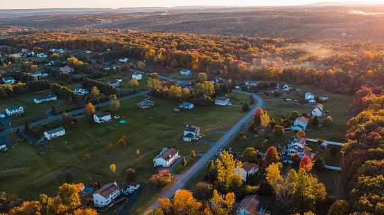 Sunset in the Appalachian Mountains over the small American town Jackson Township, Stroudsburg, Pennsylvania, Poconos region.