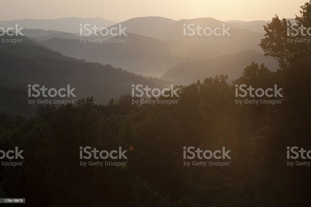 Sunset over the Smoky Mountains of Tennessee royalty-free stock photo