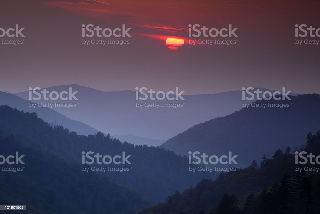 Sunset over the Smoky Mountains stock photo