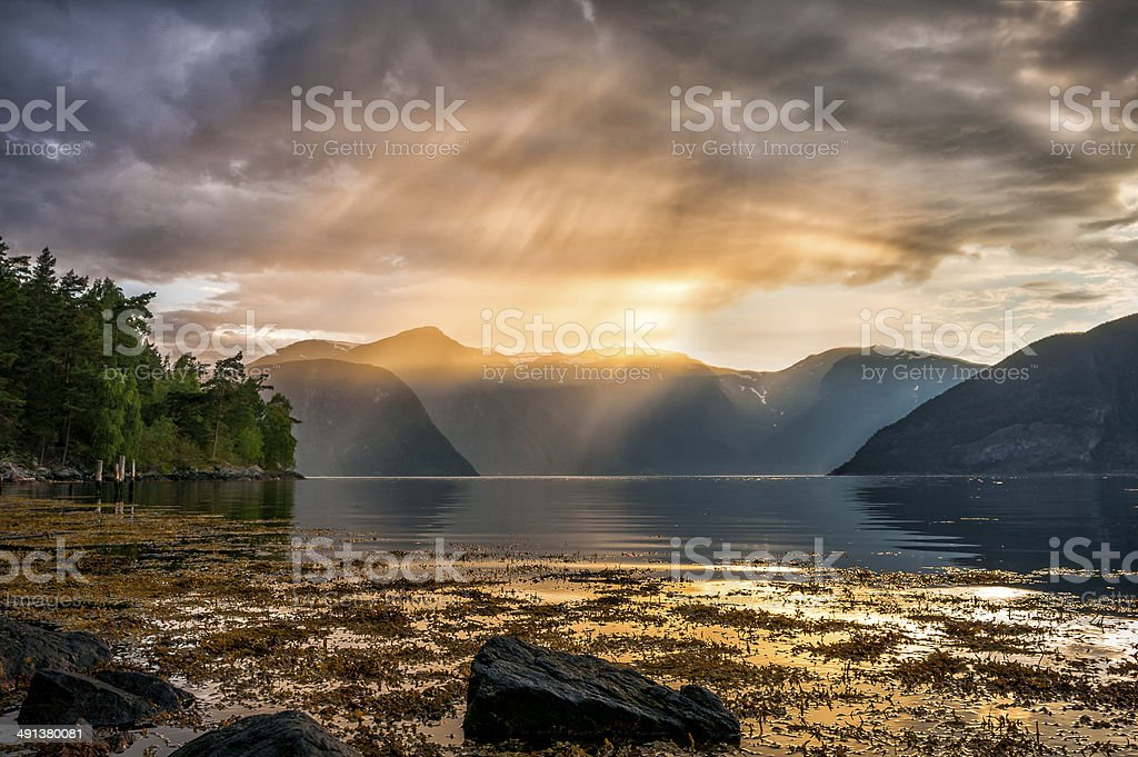 Sunset over the Sognefjord in Norway stock photo