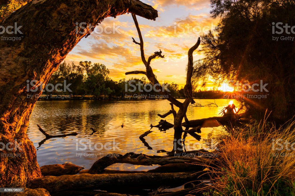 Sunset over the Swan River. Perth, Western Australia stock photo