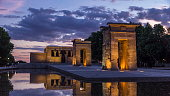 Sunset over the Templo de debod timelapse. The Temple of Debod is an ancient Egyptian temple which was rebuilt in Madrid, Spain.