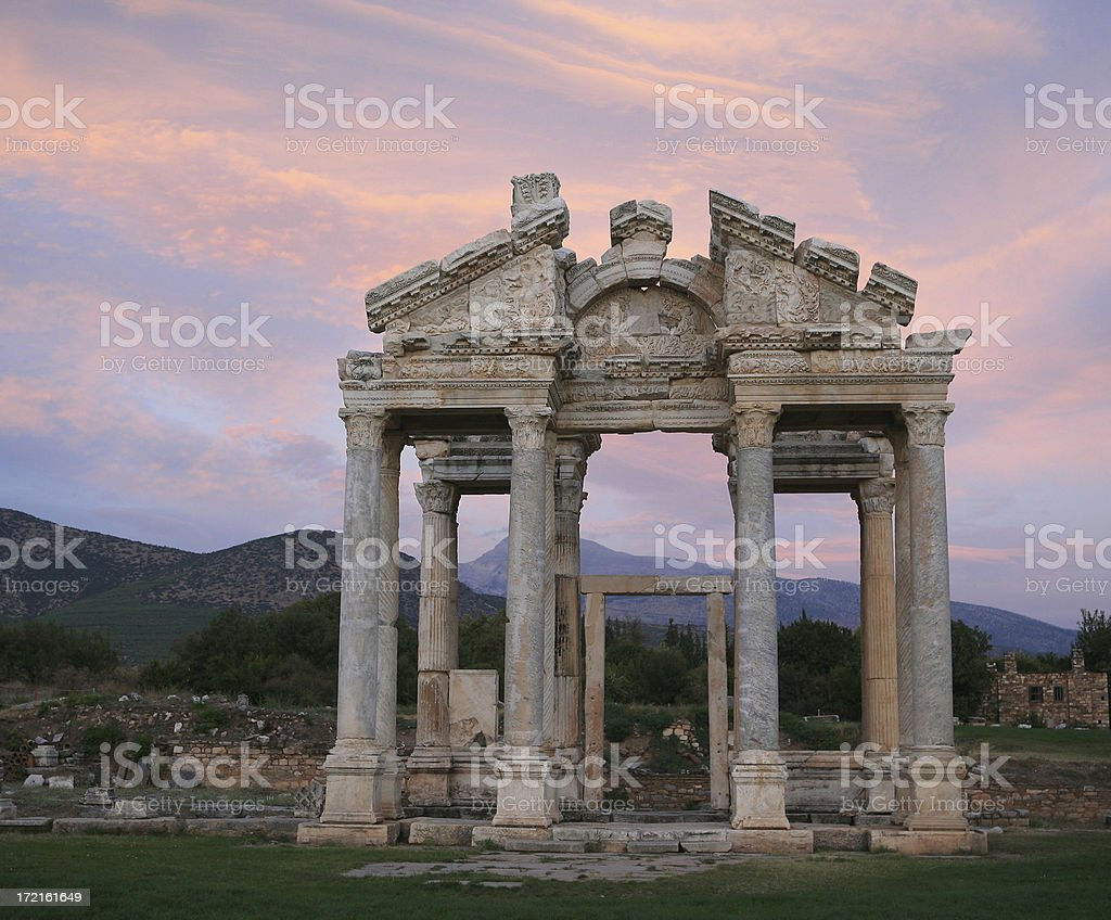 Sunset over The Tetrapylon(huge gate )at APHRODISIAS royalty-free stock photo