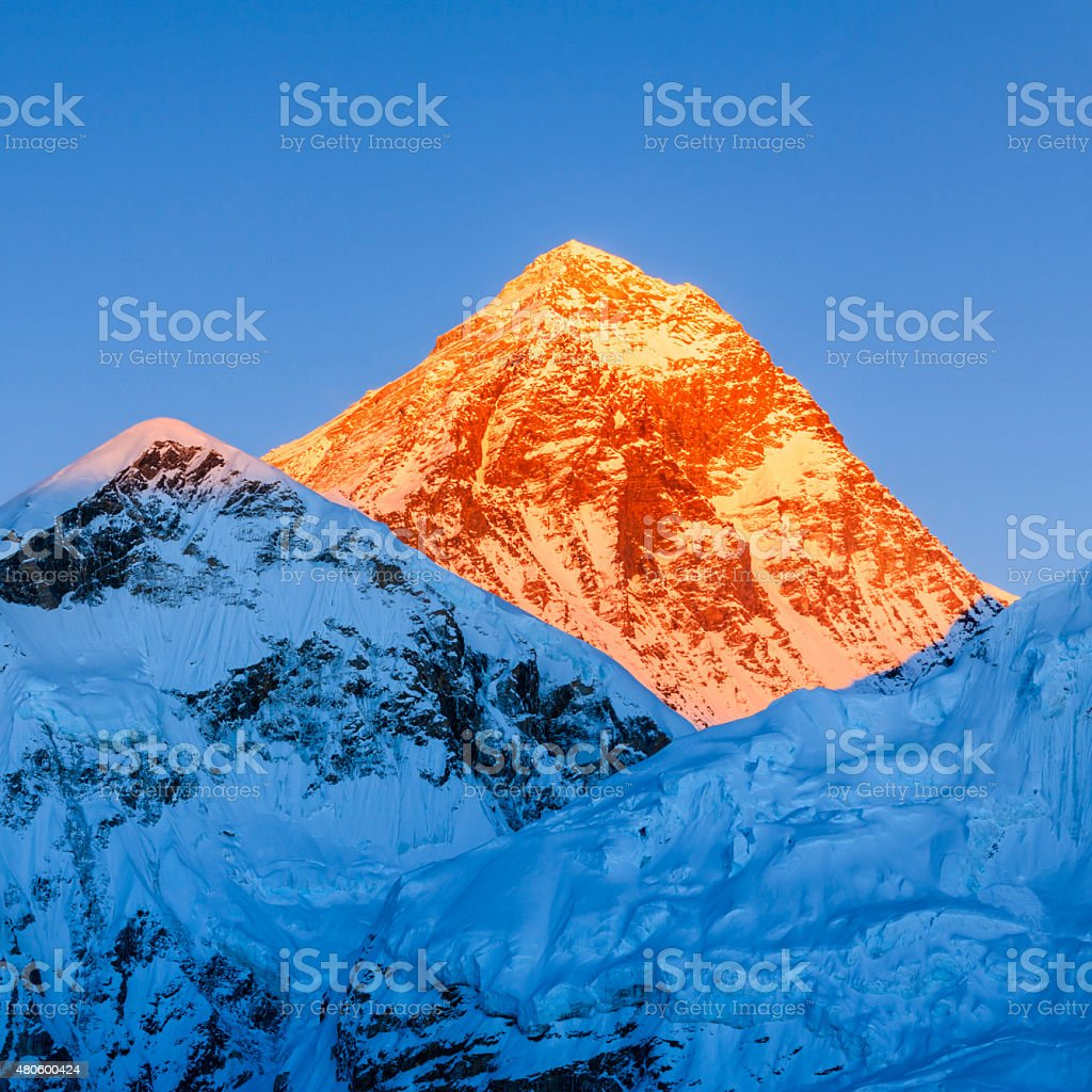 Sunset over the top of world - Mount Everest mountain stock photo