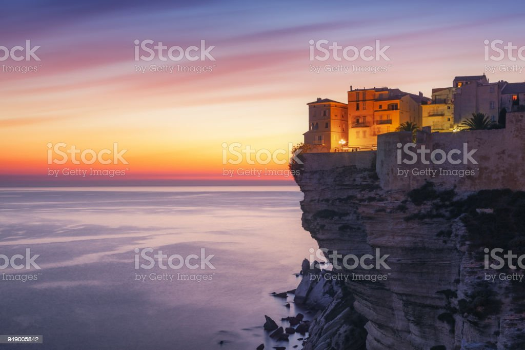 Sunset over the Town of Bonifacio, Corsica Island, France stock photo