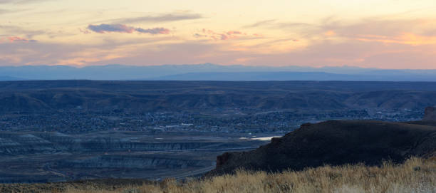 Sunset over the town of Green River, Wyoming stock photo
