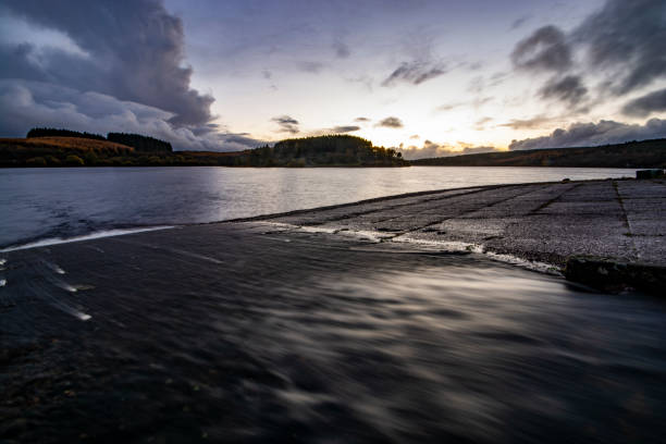 Sunset over the Usk Reservoir Sunset over the Usk Reservoir brecon beacons stock pictures, royalty-free photos & images