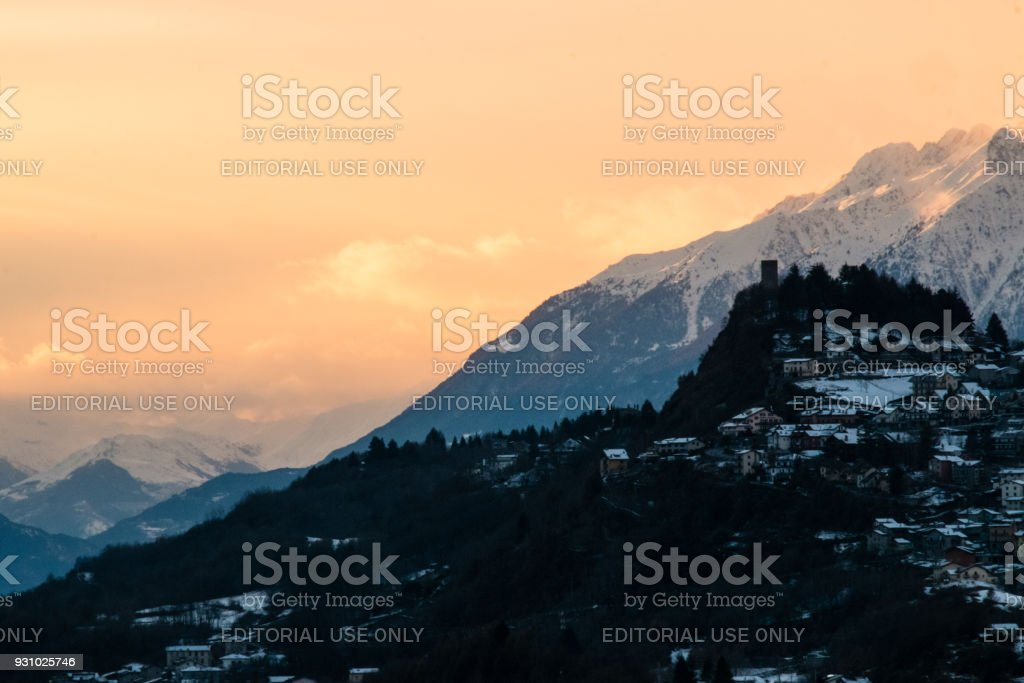 Sunset over the village of Teglio stock photo