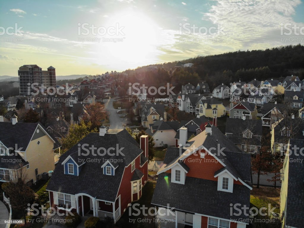 Sunset Over the Village stock photo
