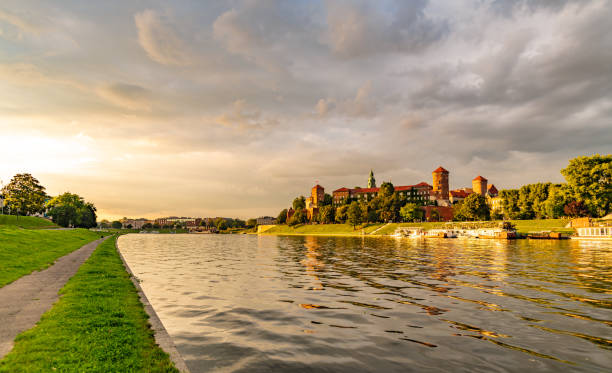 Sunset over the Vistula River in Krakow, Poland stock photo