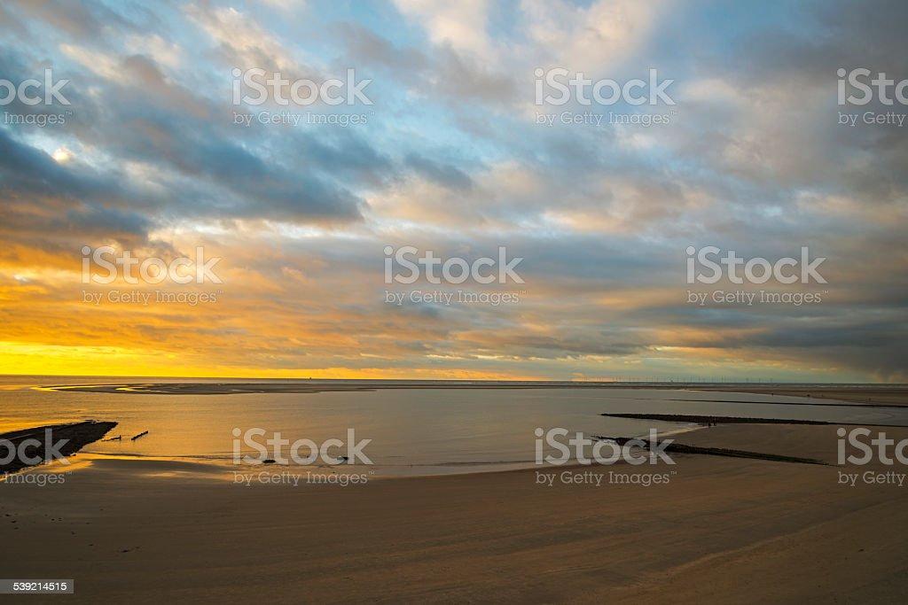 Sonnenuntergang über das Wattenmeer – Foto