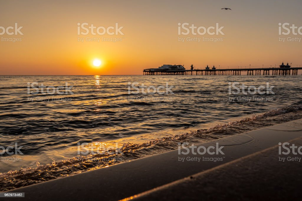 Sunset over the waves in Blackpool, Lancashire stock photo