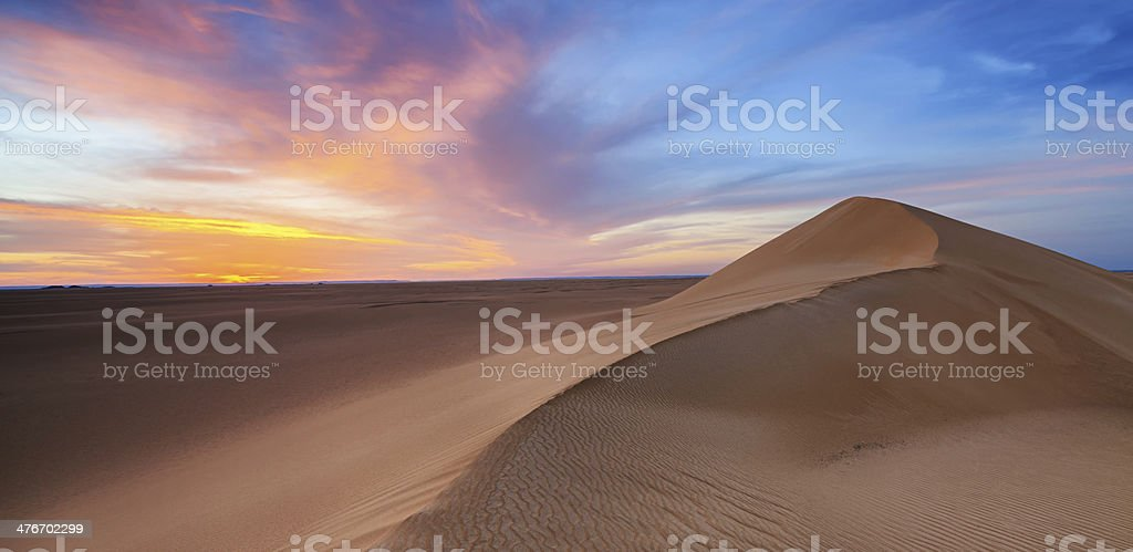 Sunset over The Western Sahara Desert in Africa royalty-free stock photo